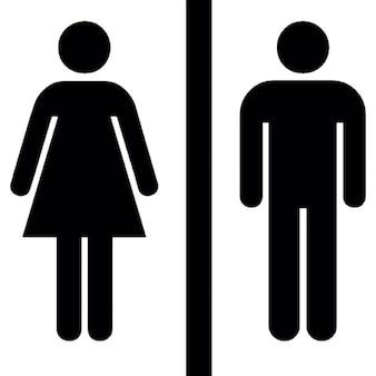 Weibliche und männliche Silhouetten mit einer vertikalen Linie in der Mitte