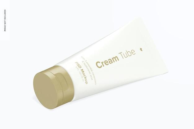 0,5 oz cream tube mockup, isometrische ansicht von rechts
