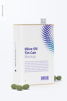 1 liter olivenöl rechteckige blechdose mockup