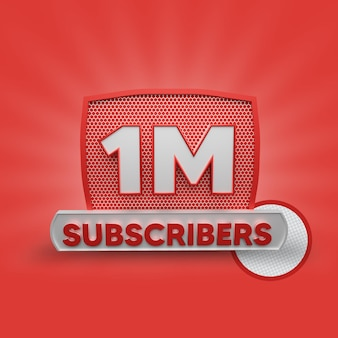 1 million abonnenten 3d-rendering