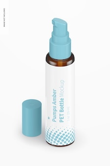 1 oz pumps bernsteinfarbenes pet-flaschenmodell, isometrische ansicht