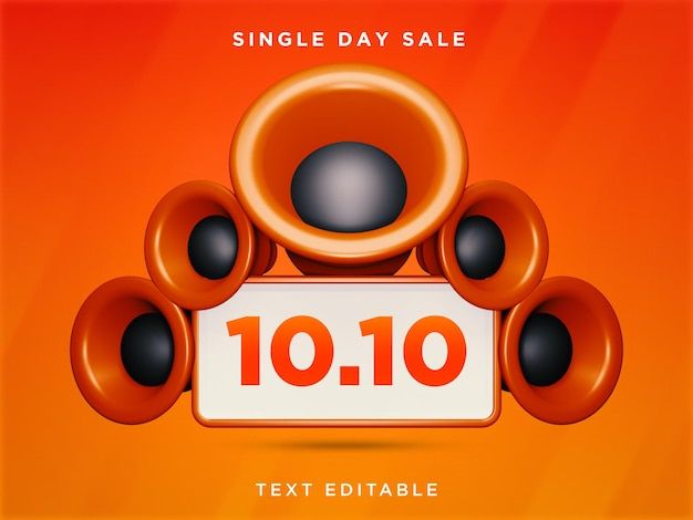 10.10 einzeltagesverkauf 3d-design bearbeitbarer text psd