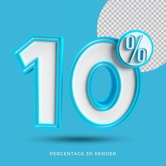 10 prozent 3d render blaue farbe