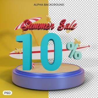 10 prozent sommerrabattangebot 3d-rendering
