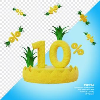 10 prozent sommerverkaufskonzept mit ananas-podium 3d-rendering