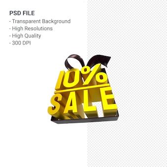 10% verkauf mit bogen und band 3d design isoliert