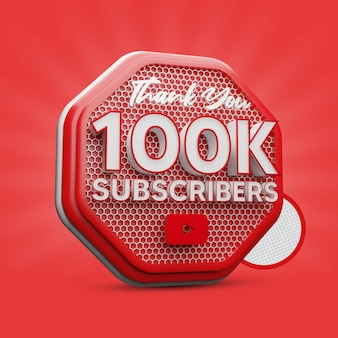 100.000 youtube-abonnenten 3d-rendering