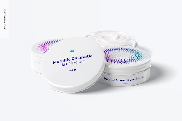 100g metallic cosmetic jars mockup