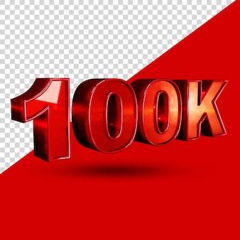 100k 3d-rendering-textstil isoliert