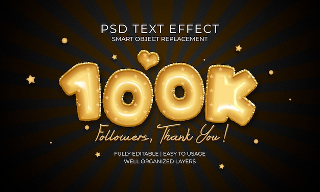 100k followers text effekt
