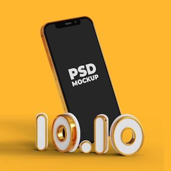1010 sonderverkaufsaktion mit smartphone-bildschirmmodell
