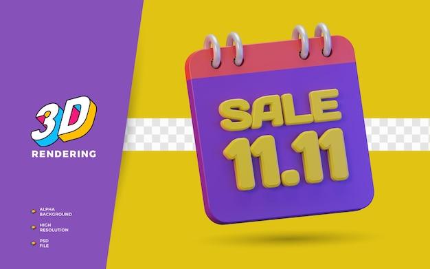 11.11 einkaufstag rabatt verkaufsförderung 3d-render-objekt