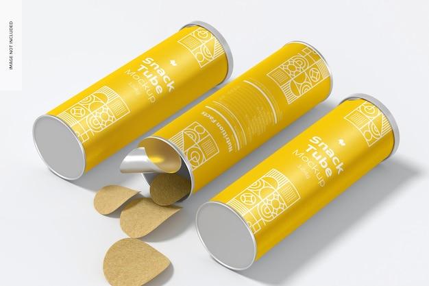 124g snack tube mockup, geöffnet