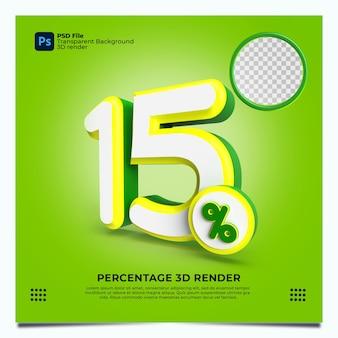15 prozent 3d-render grüngelbweiße farben mit elementen