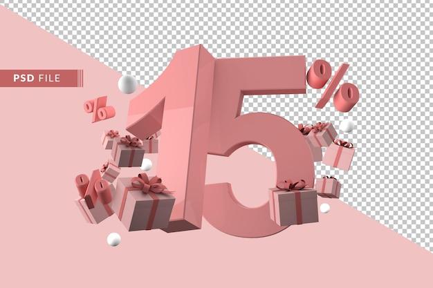 15 prozent rabatt auf promotion-3d-rendering isoliert Premium PSD