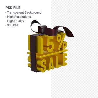 15% verkauf mit bogen und band 3d design isoliert