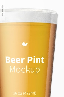 16 oz bier pint mockup, nahaufnahme