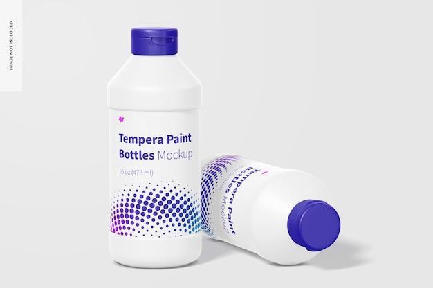 16 unzen tempera paint bottles mockup