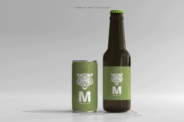 180ml mini soda oder bierdose und flasche mit wassertropfen mockups