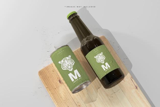 180ml mini soda oder bierdose und flasche mit wassertropfen mockups Premium PSD