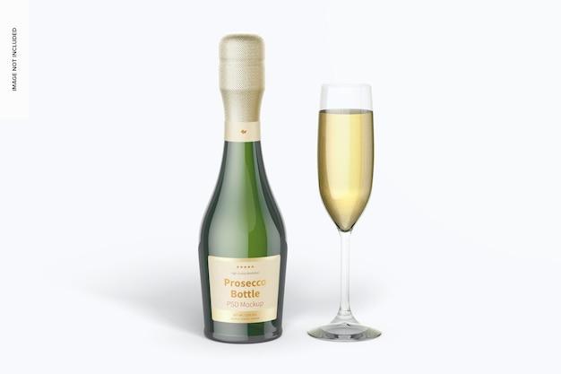 187 ml prosecco-flasche mit glasbecher-mockup