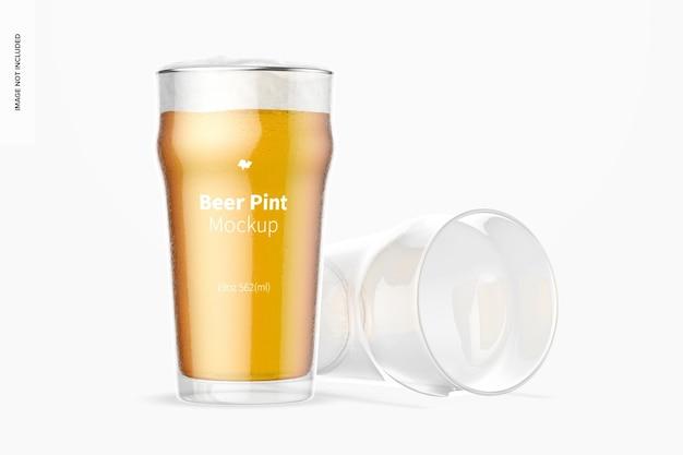 19 oz bier nonic pint glass mockup, dropped