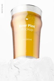 19 oz bier nonic pint glass mockup, vorderansicht von unten