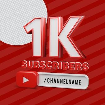 1k youtube-abonnenten 3d-rendering mit bearbeitbarem text des kanalnamens