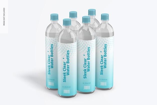1l sleek clear water bottle mockup, perspektive