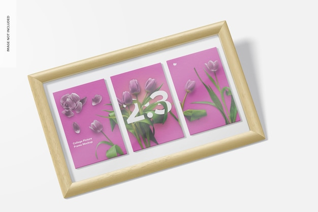 2: 3 collage picture frame mockup, perspektive
