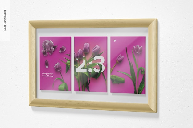 2: 3 collage picture frame mockup, rechte ansicht