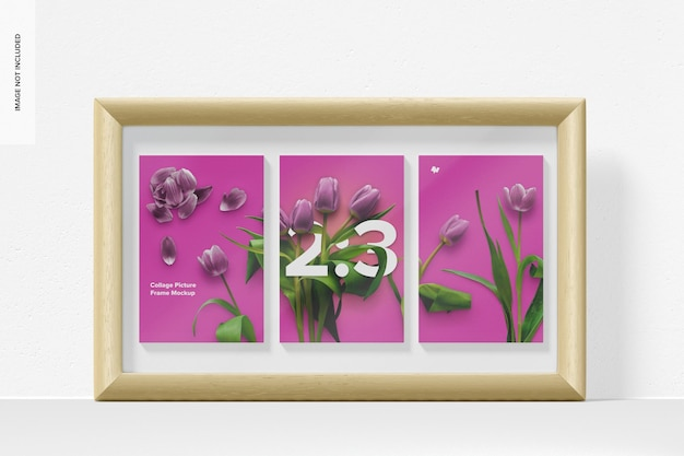 2: 3 collage picture frame mockup