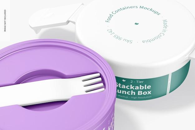 2-stufiges stapelbares lunchbox-modell, nahaufnahme