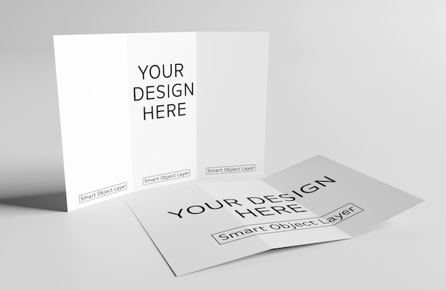 2 trifold brochures mockup