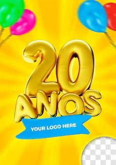 20 anos in brasilien label alles gute zum 20. geburtstag gold 3d render