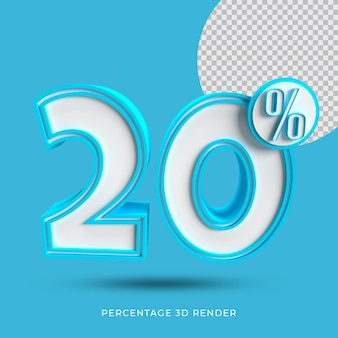 20 prozent 3d render blaue farbe