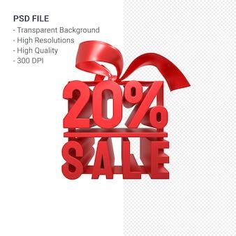 20% verkauf mit bogen und band 3d design isoliert