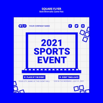2021 e-sports event quadratische flyer vorlage