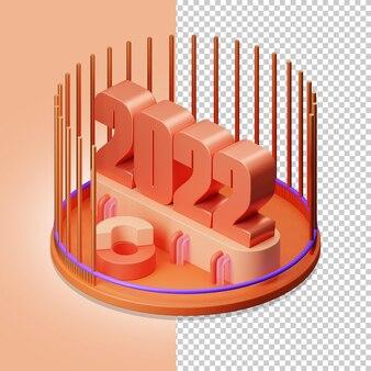 2022 isometrische ansicht 3d-darstellung alpha-hintergrund psd