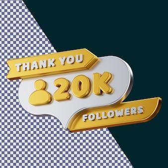 20k follower 3d gerendertes isoliertes konzept mit realistischer goldener metallischer textur