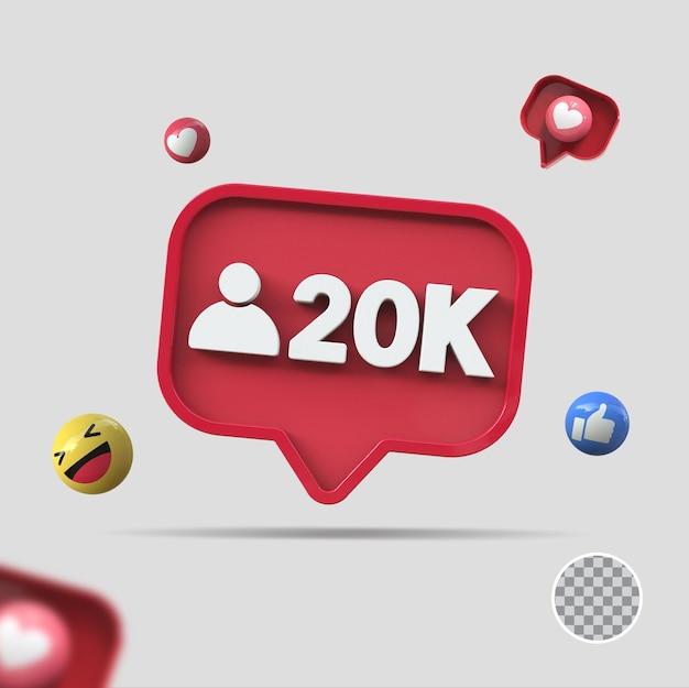 20k follower mit symbol 3d-rendering