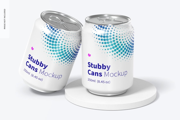 250ml stubby cans mockup, geneigt