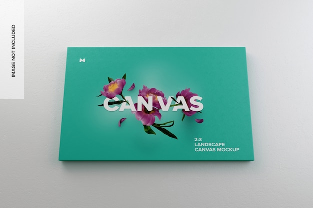 3: 2 landscape canvas mockup hängt an der wand