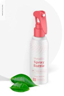 3,3 unzen metallic-sprühflasche mockup, vorderansicht