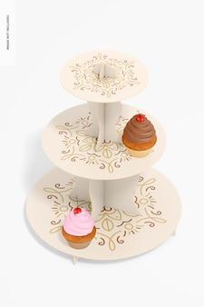 3-stöckiges cupcake-standmodell aus karton, ansicht von oben