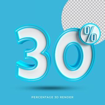 30 prozent 3d render blaue farbe