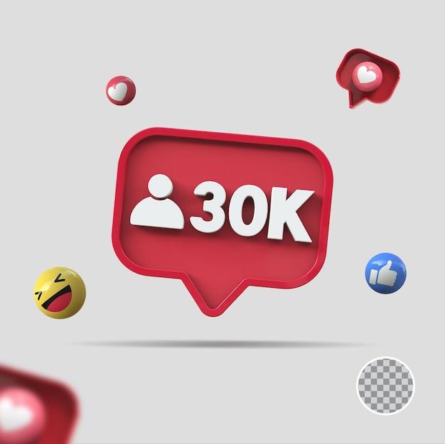 30k follower mit symbol 3d-rendering