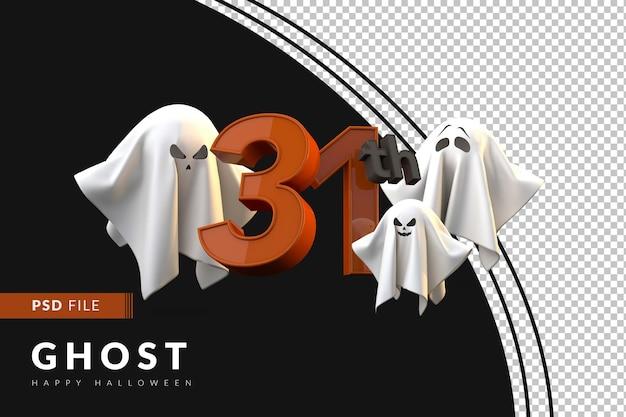 31. happy halloween-konzept mit 3d-geistern