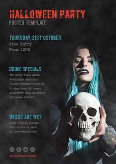 31. oktober halloween-partyplakat mit dem mädchen, das einen schädel hält
