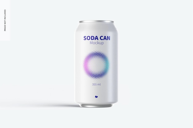 355 ml soda can mockup, vorderansicht